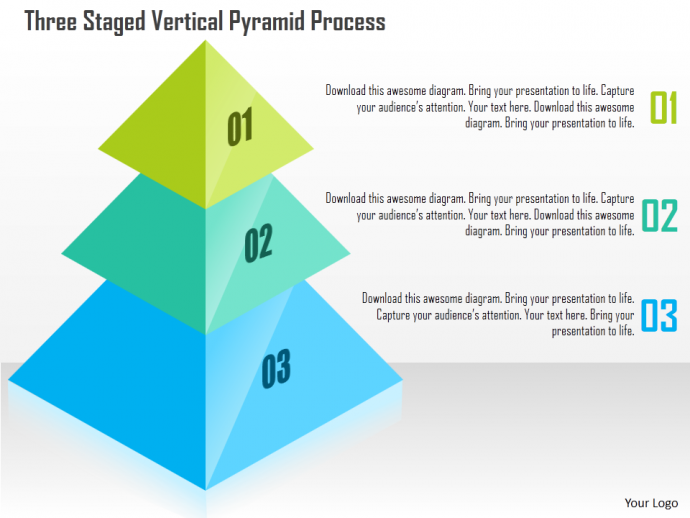 three staged vertical pyramid process powerpoint templates | faop, Modern powerpoint