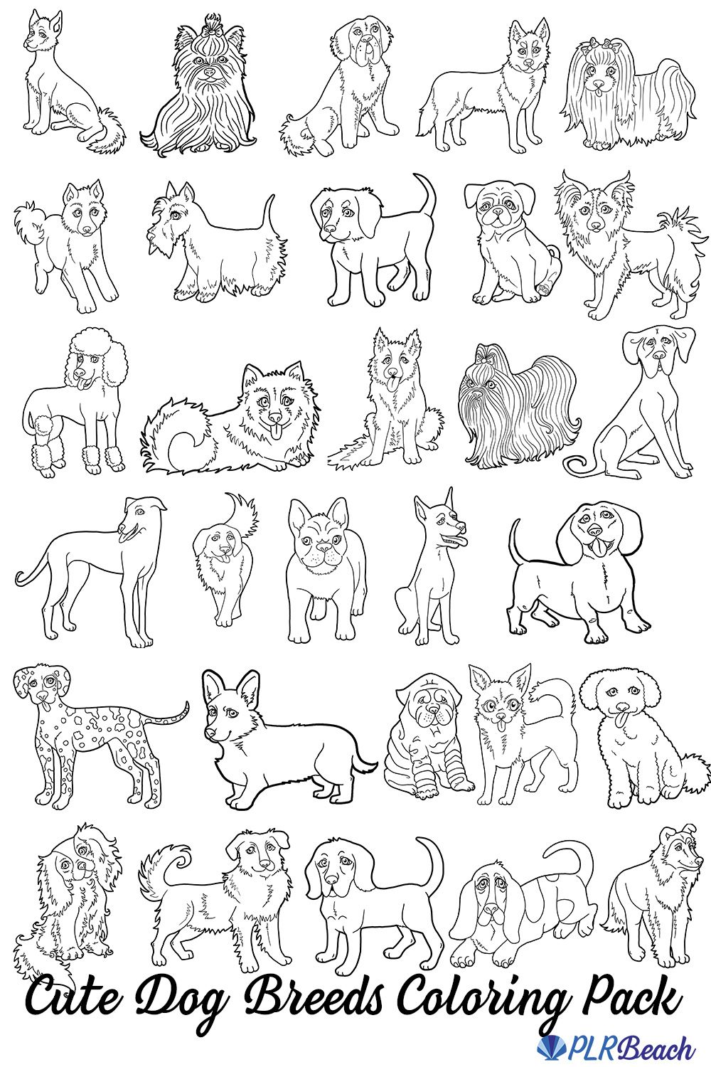 30 Dog Breeds Coloring Image Pack For Commercial Use Dog Coloring Book Puppy Coloring Pages Dog Coloring Page