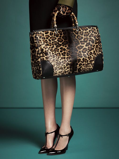 7ce0ab43de4 gucci  The FW 13-14 Gucci Bamboo Shopper Jaguar Print Tote