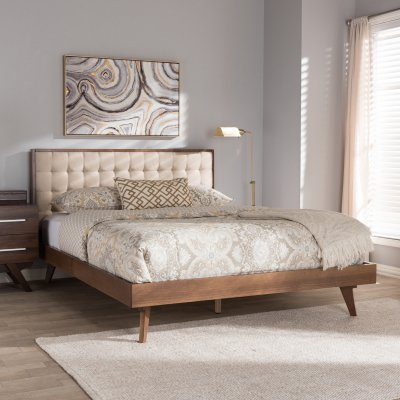Baxton Studio Soloman Mid Century Modern Fabric And Walnut Brown Finished Wood Platform Be Upholstered Platform Bed Wood Platform Bed Mid Century Modern Fabric