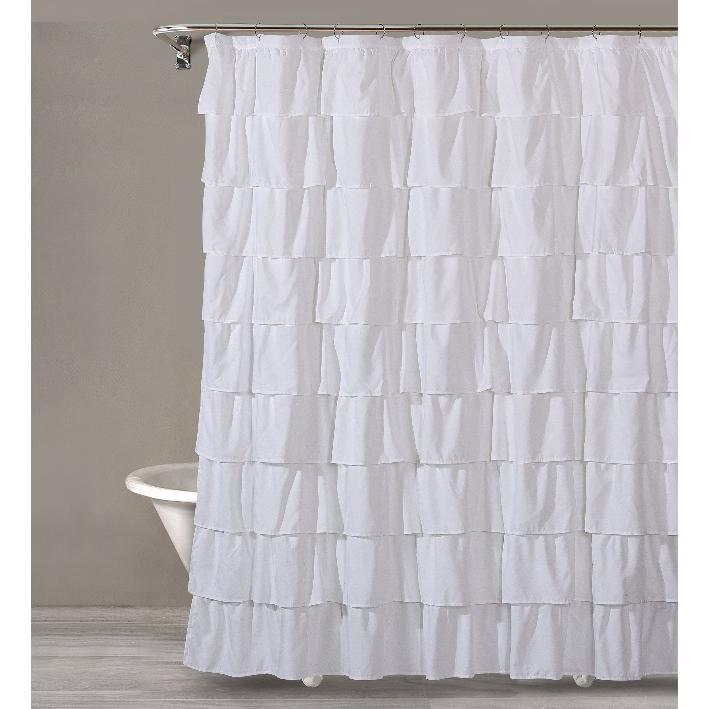 Style Quarters Bianca Ruffle Shower Curtain White Ruffles