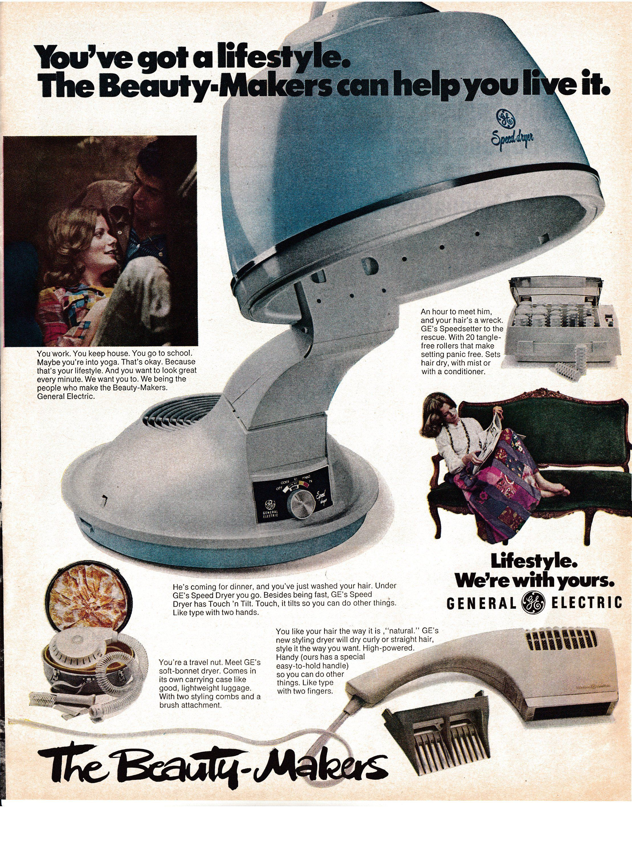 1972 GE Home Hair DryerBeauty Maker CurlersSetOriginal