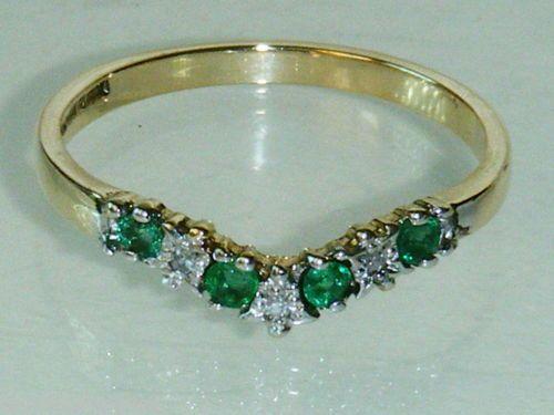 9ct gold emerald & diamond wishbone eternity ring