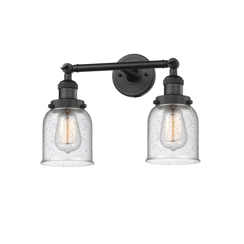 "Photo of Innovations Lighting 208 Small Bell Small Bell 2 Light 15 ""Wide Bathroom Vanity Matte Black / Seedy Indoor Lighting Bathroom Fixtures Vanity Light"