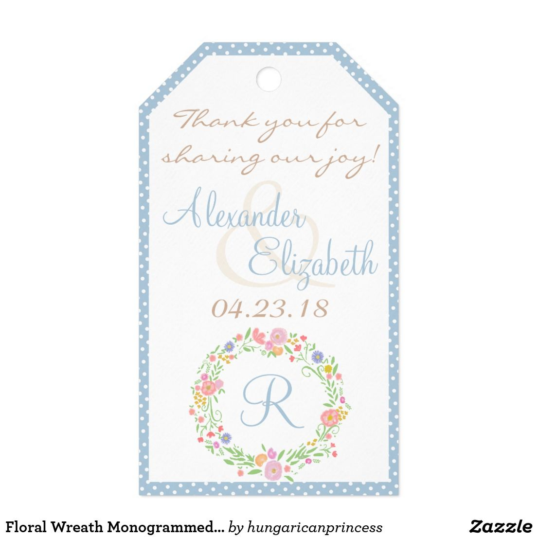 Floral Wreath Monogrammed Wedding Favor Thank You- Gift Tags ...