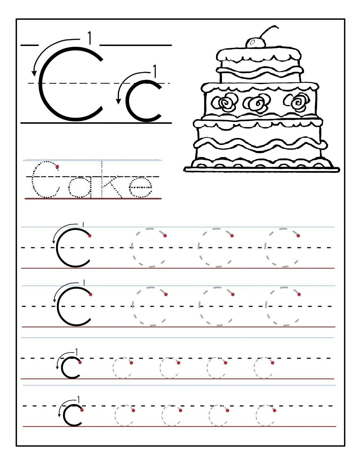 Free Worksheet Letter C Worksheets Preschool trace the letter c worksheets activity shelter kids free printable tracing for preschool educational first graders