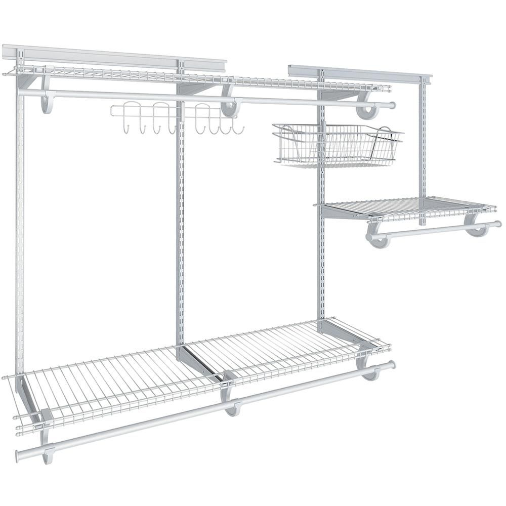 Closetmaid Shelftrack 12 In D X 72 In W X 84 In H White Wire Reach In Closet Kit With Basket And Hooks 17853 The Home Depot Wire Closet Systems Closet System Closet Kits