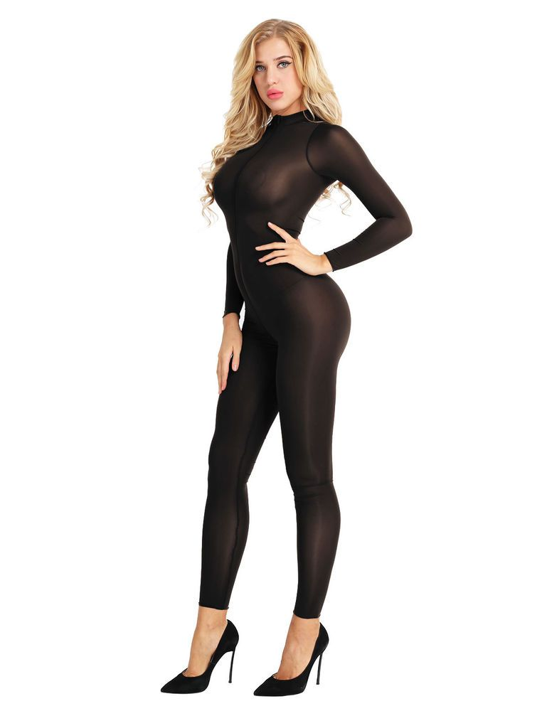 Womens Catsuit Lingerie Long Sleeve Zipper Open Crotch Leotard Bodysuit  Clubwear  fashion  clothing  shoes  accessories  womensclothing   jumpsuitsrompers 73a43aa6a