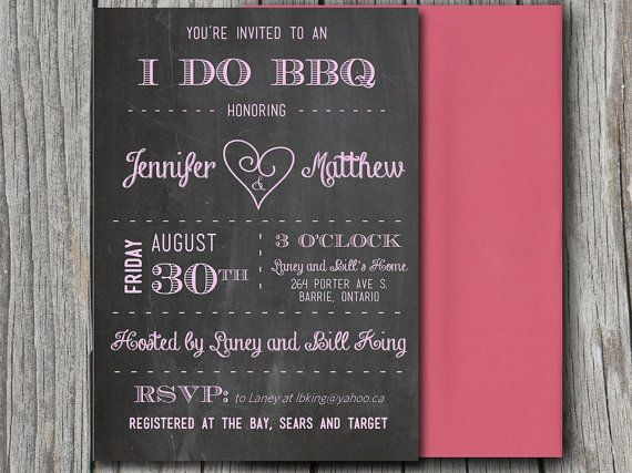 Chalkboard Heart I do BBQ Bridal Shower Invitation, Downloadable - bridal shower invitation templates for word