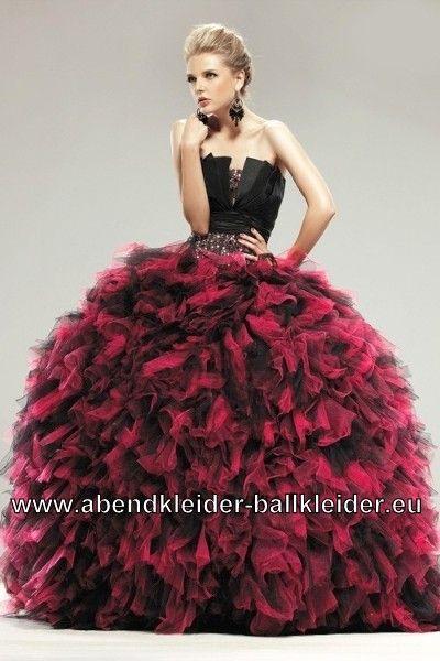 Ausgefallenes Brautkleid Abendkleid Ballkleid In Schwarz Rot
