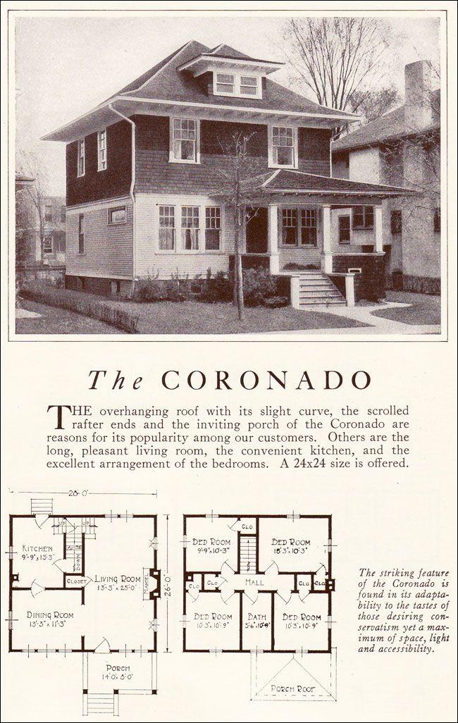 1922 Coronado American Foursquare Lewis Manufacturing Craftsman House Plans Square House Plans Vintage House Plans