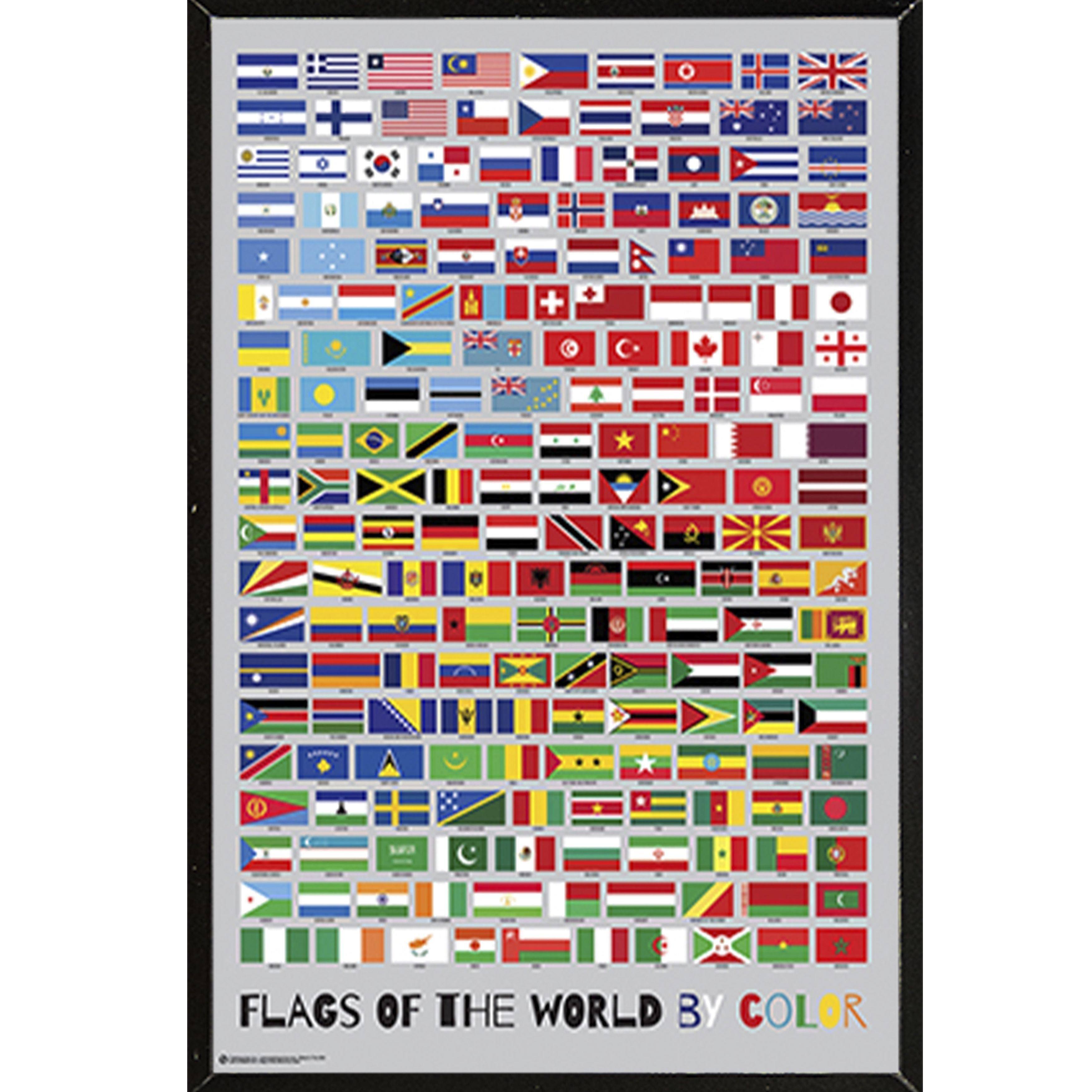 a0517a554e42 USA Color Poster  Flags of the World  Plaque Woodmount Paper 24-inch x  36-inch Framed Poster Print