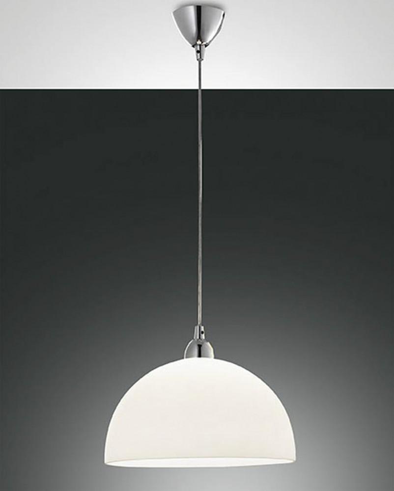 Fabas Luce Nice Hanging Light Chrome 1 Light Source Hanging Lights Glass Light Fixture Chrome Pendant Lighting