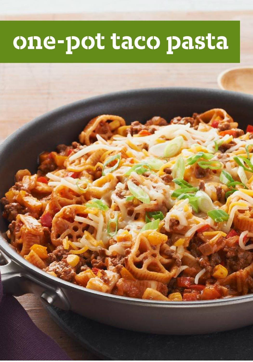 "One-Pot Taco Pasta – with ""one-pot,"" ""taco"" and ""pasta"" in the title, is there any doubt this will be a winner at your house? Everyone's favorite flavors make for a foolproof dinnertime."