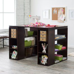 Sullivan Counter Height Craft Table Espresso Hayneedle With Images Craft Room Tables Craft Table Craft Tables With Storage