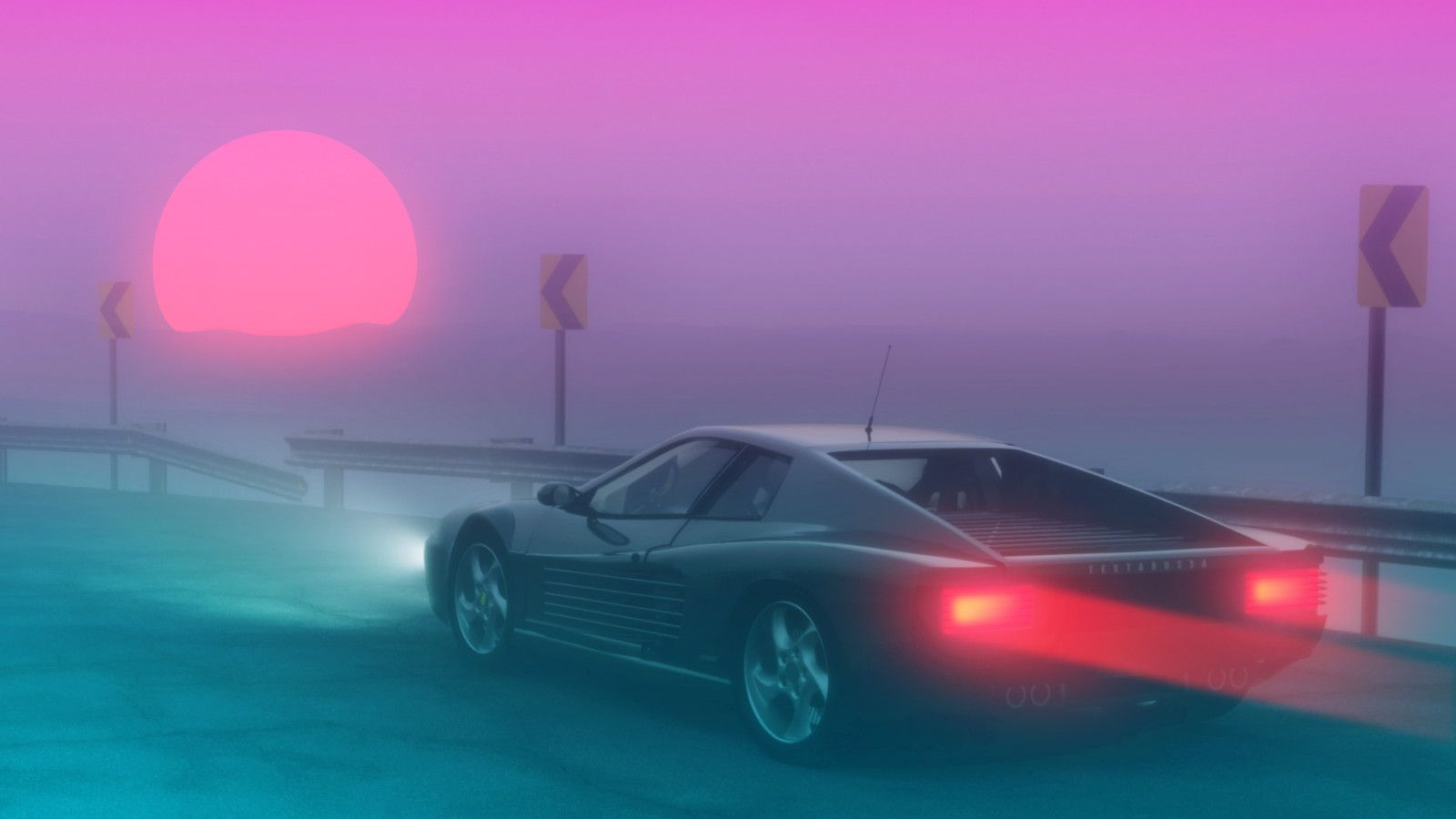 Miami Coast Michael Lg On Artstation At Https Www Artstation Com Artwork Lo3qp Synthwave Ferrari Testarossa Retro Waves