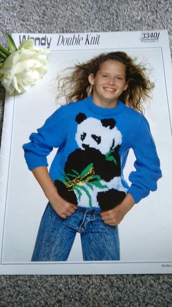 Vintage Wendy Knitting Pattern No 3340 Childs Sweater With Panda