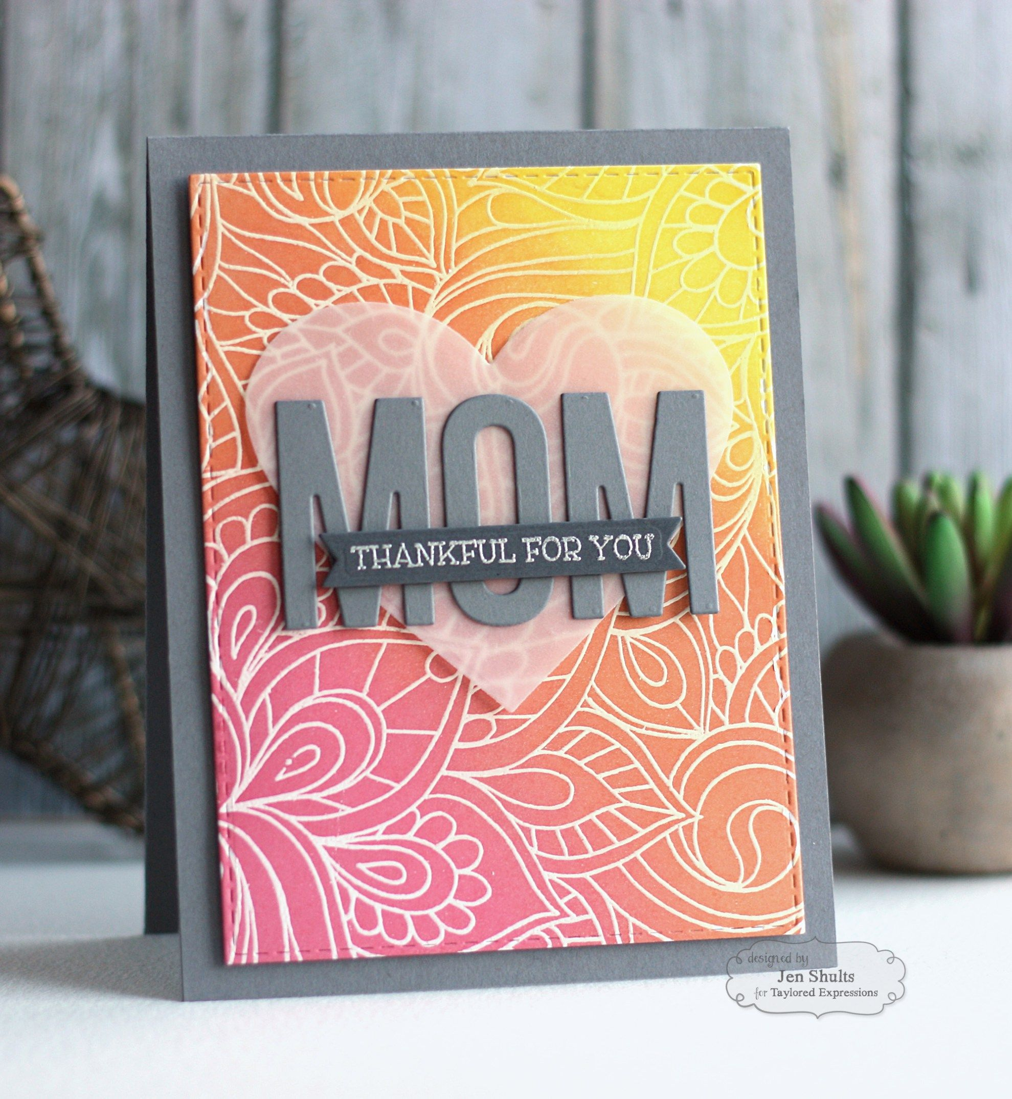 Mom thankful for you handmade card by jen shults motherus day card