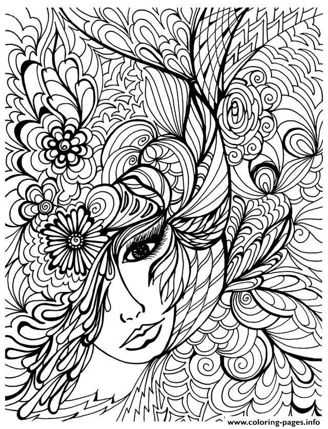 Print adult zen anti stress face vegetation coloring pages | Free ...