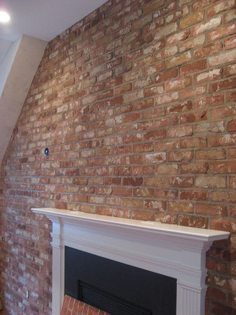 Faux brick wall brick wallpaper pinterest faux brick - Covering brick fireplace with tile ...