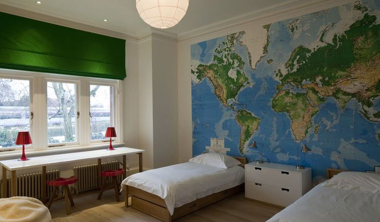 White Room With Green And Blue Accents Love The Wall Map - Wall map children's room