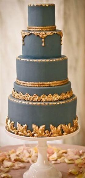 This Is Pretty Amazing Wedding Cakes Blue Gold Wedding Cake Gorgeous Cakes