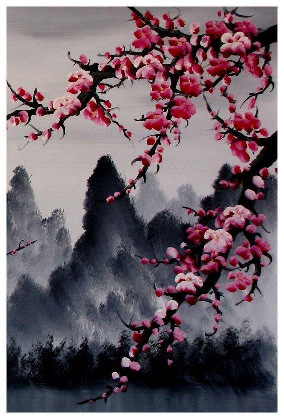 Cherry blossom art, Cherry blossom wall mural, cherry blossom japanese art print set of 3