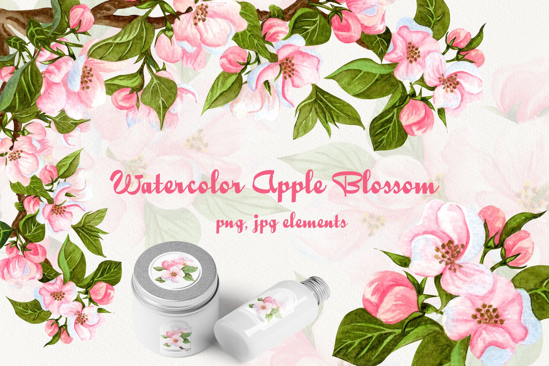 Apple Blossom Watercolor Clip Art By Barvart Thehungry