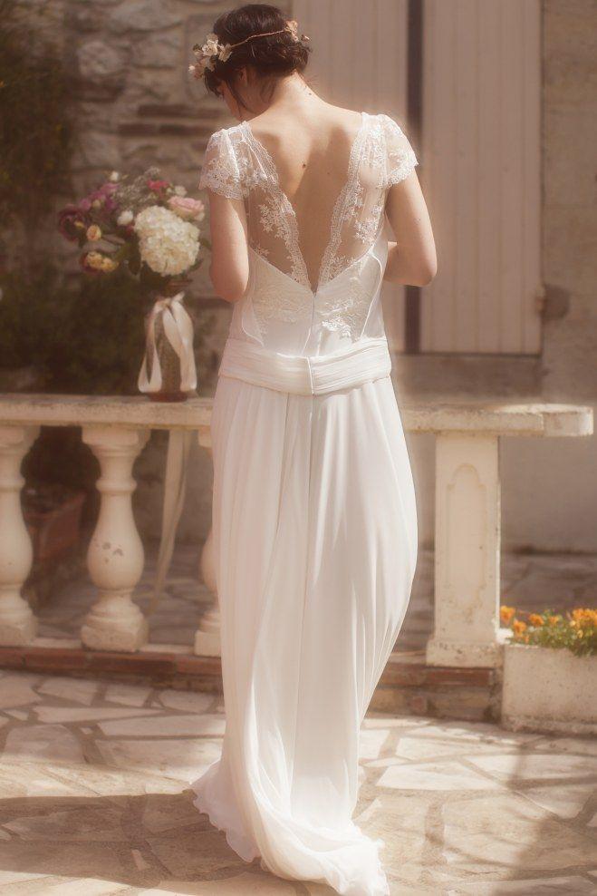 robe de mari e dos nu dentelle avec petites manches toute en fluidit style ann es 30 les. Black Bedroom Furniture Sets. Home Design Ideas