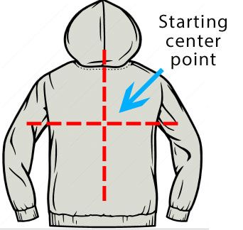 11d7780b0 Placement Tips for Heat Printing on the back of hoodies.  www.transferexpress.com