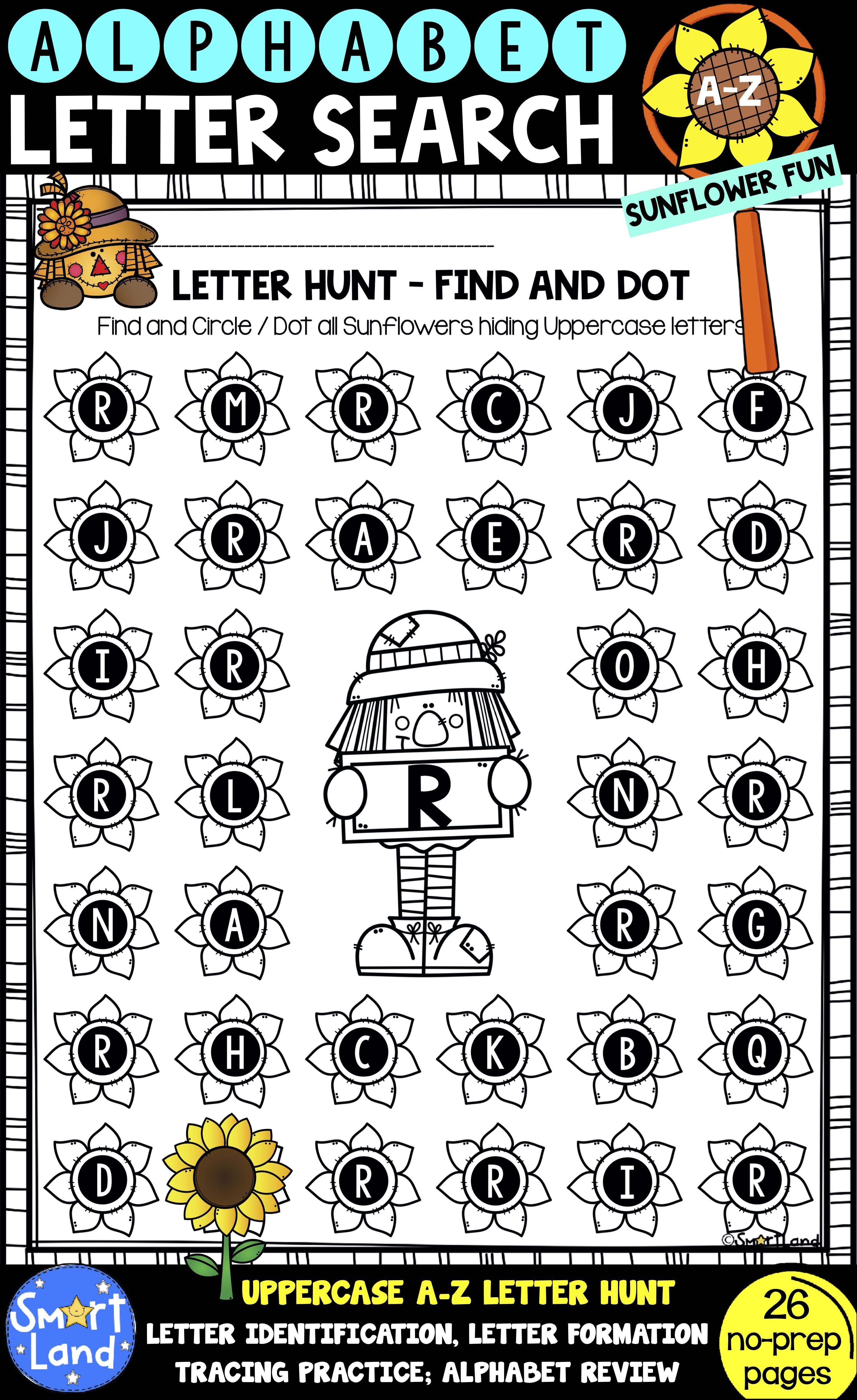 Alphabet Practice Worksheets Letter Search Sunflower Fun Alphabet Practice Alphabet Practice Worksheets Pre Writing Practice