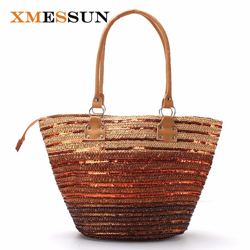 4d36ddae XMESSUN 2018 Brand Design Summer Style Straw Popular Weave Woven Big ...
