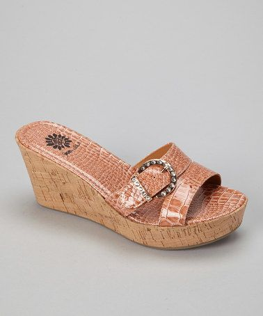 Take a look at this Tan Amber Wedge Slide - Women by Yellow Box Shoes on #zulily today!