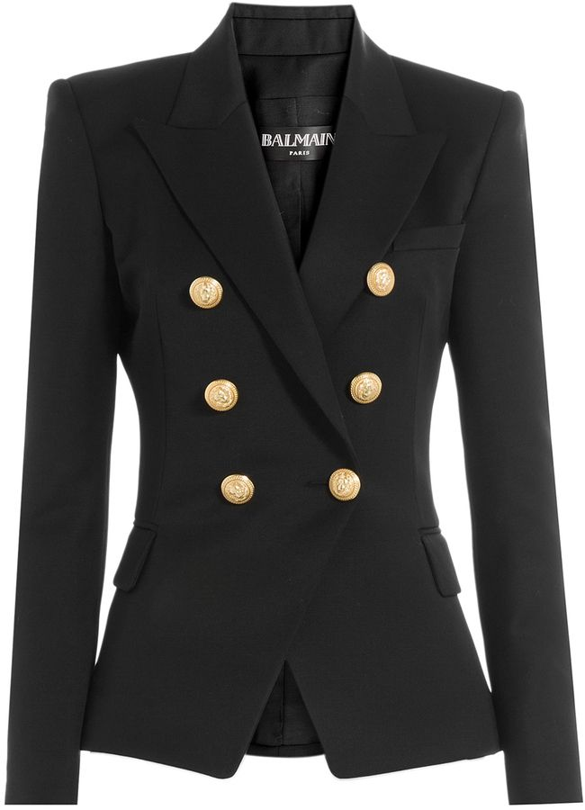 84c267d11 Balmain Wool Blazer with Embossed Buttons | FASHION in 2019 ...