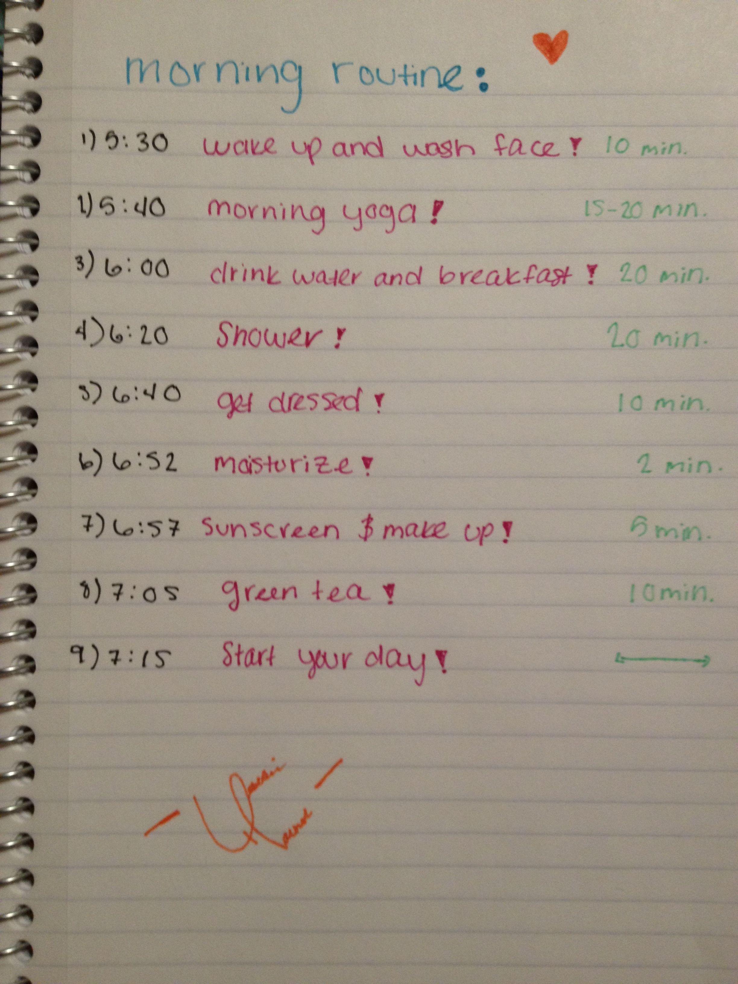 Teen Morning Routine Worksheet