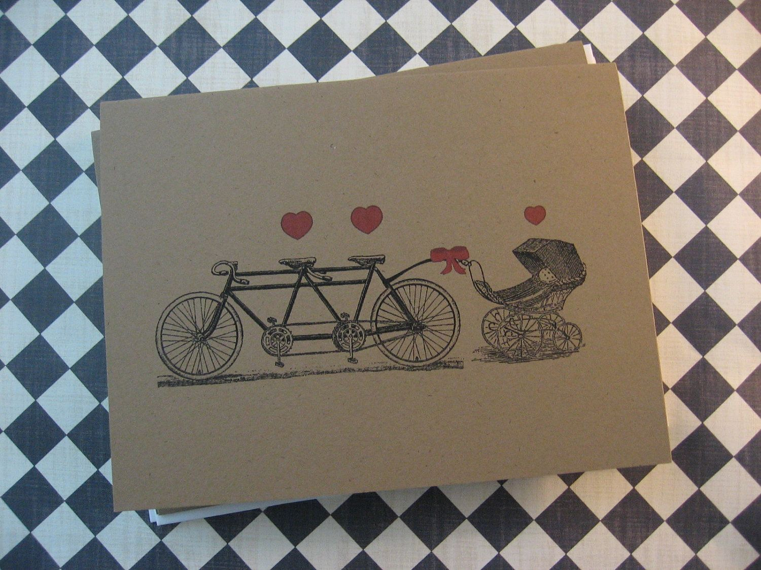 Tandem Bicycle with Baby Carriage Card - Personalized Invitation ...