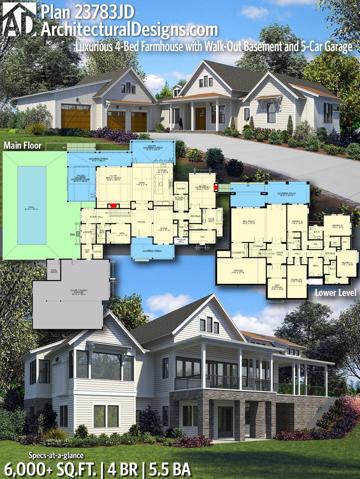 Plan 23783jd Luxurious 4 Bed Farmhouse With Walk Out Basement And 5 Car Garage House Plans House Design 6 Bedroom House Plans