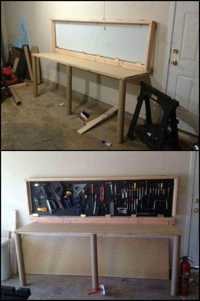 How To Build A Wall Mounted Folding Workbench Folding Workbench Workbench Plans Diy Workbench