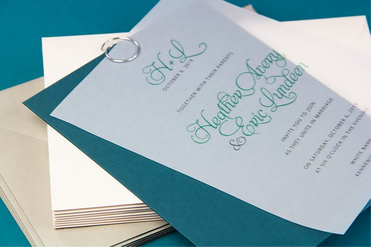 Clear Vellum Invitation Envelope Printed With Blue And Purple