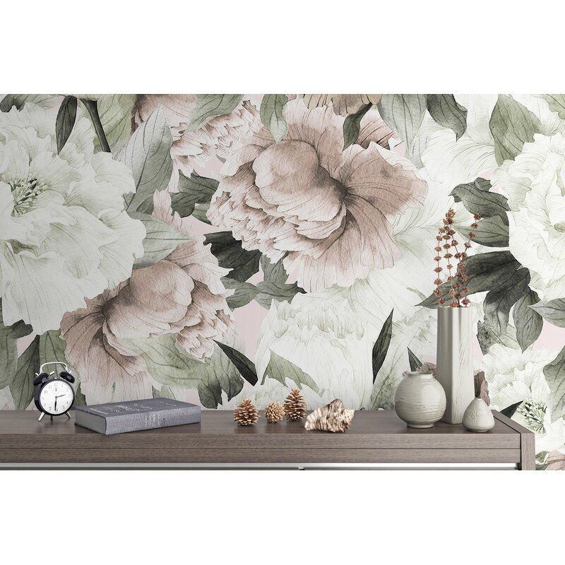Draughn Peel And Stick Dutch Floral Peony Blossom Classical Kids Wallpaper In 2021 Peony Wallpaper Floral Wallpaper Nursery Wallpaper