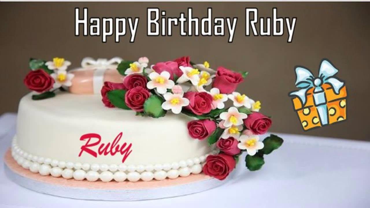 Happy Birthday Ruby Cake Happy Birthday Cake Images Happy Birthday Cakes Birthday Wishes Cake