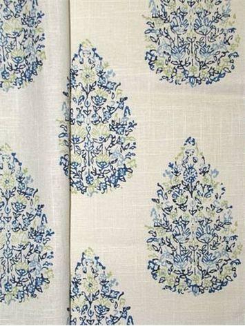 Kedara Blue Green John Robshaw Fabric Drapery Fabric Blue