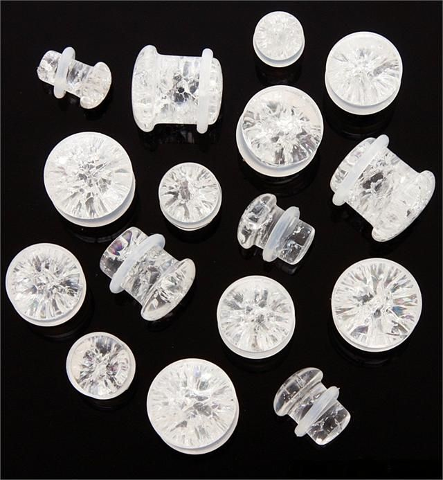 """Pair Clear Quartz Stone /""""Shattered Look/"""" Single Flare Ear Plugs Tunnels Gauges"""
