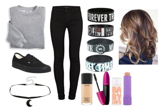 """""""What I wore today"""" by until-edm-comes ❤ liked on Polyvore featuring Blair, J Brand, Vans, MAC Cosmetics, Revlon and Maybelline"""