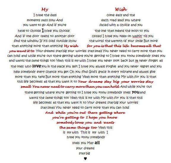 I took the song My Wish by Rascal Flatts and typed it into the shape ...