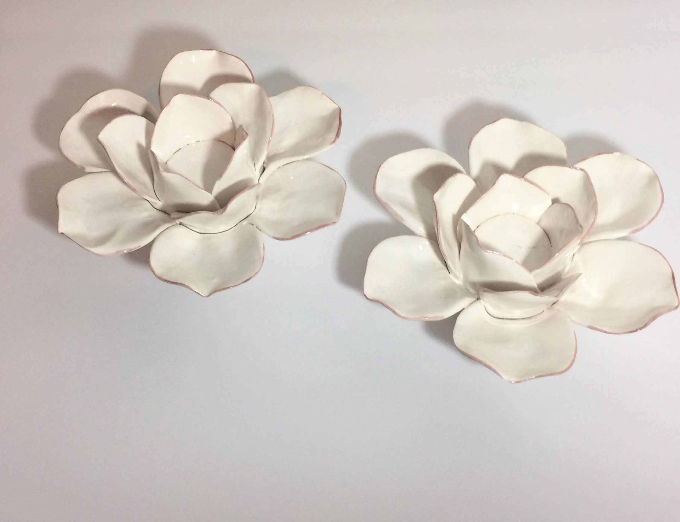 White lotus candle holders pair of ceramic lotus flower white lotus candle holders pair of ceramic lotus flower candleholders home decor tablescape by myvintageapartment on izmirmasajfo
