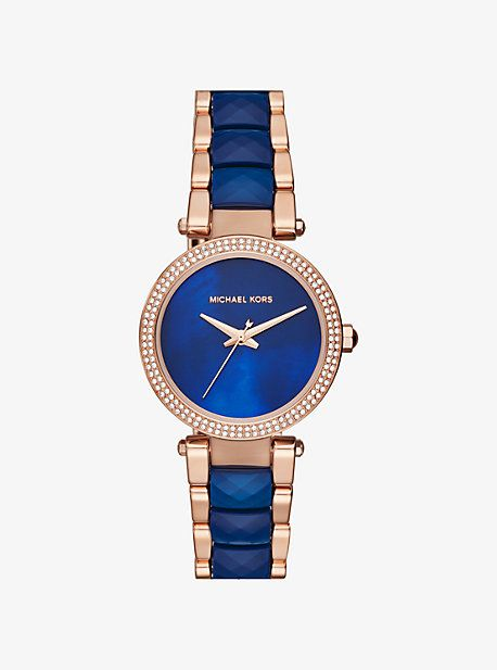 75c5ddb4b406 Parker Pave Rose Gold-Tone And Acetate Watch