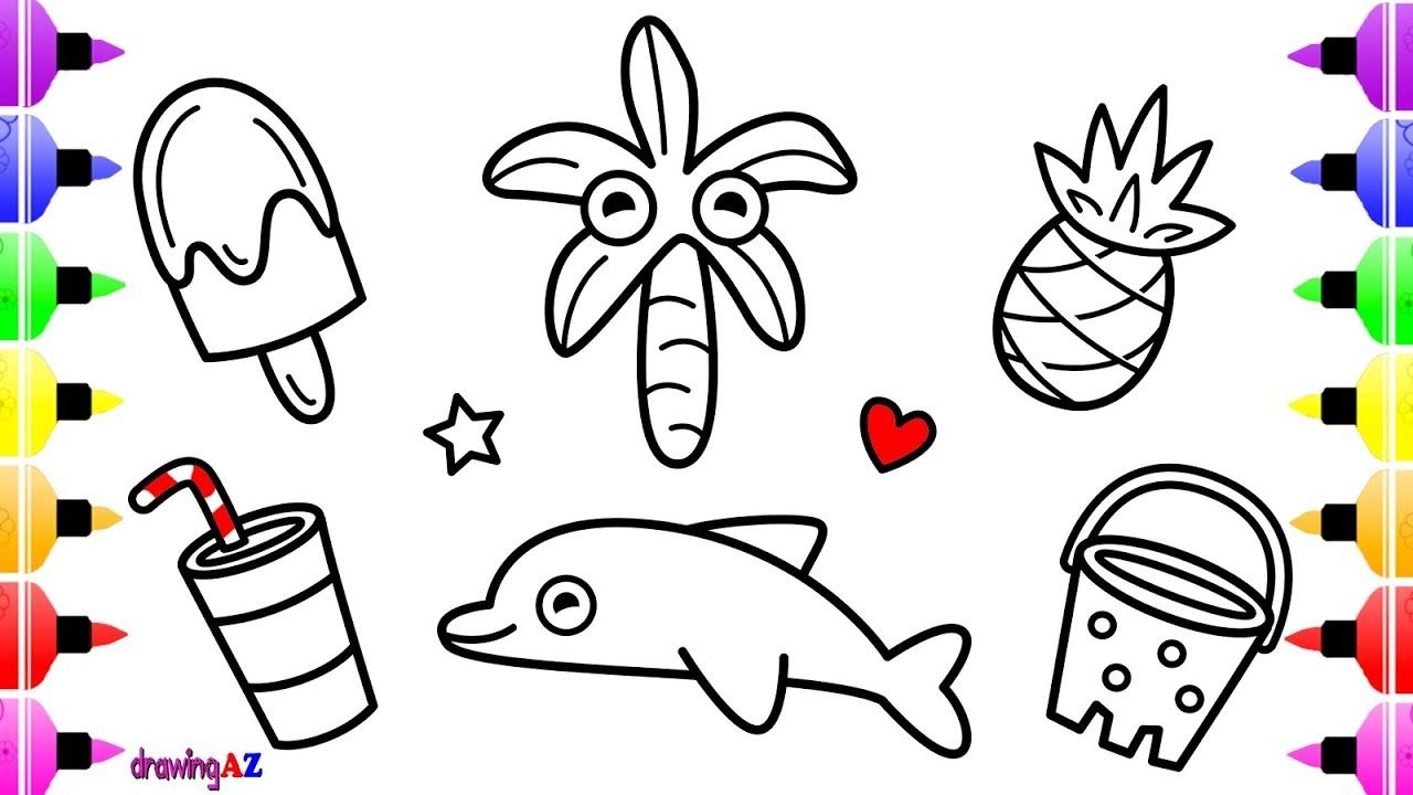 Kids Beach Sand Toys Set Coloring Pages for Kids | Children\'s ...