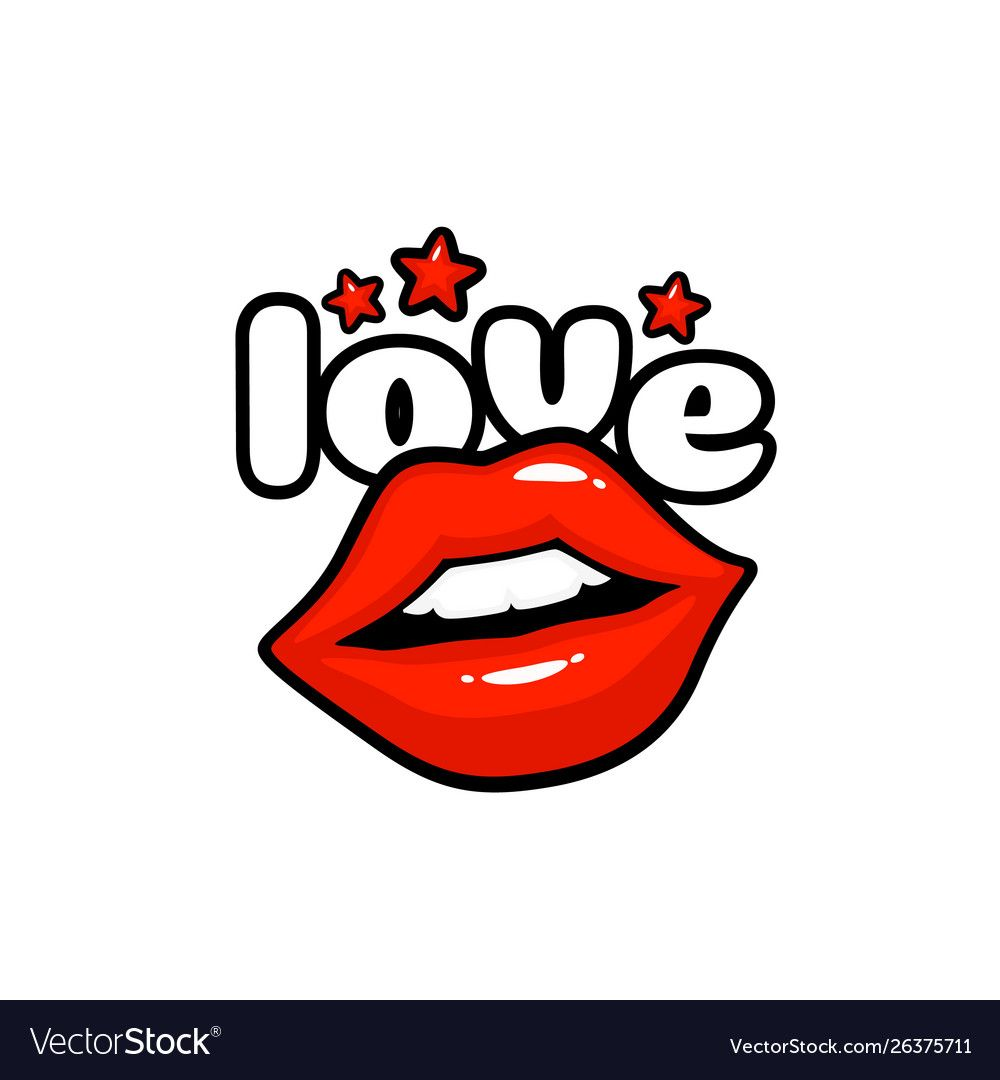 Love Label Sticker A Kiss Of A Message Red Lips Vector