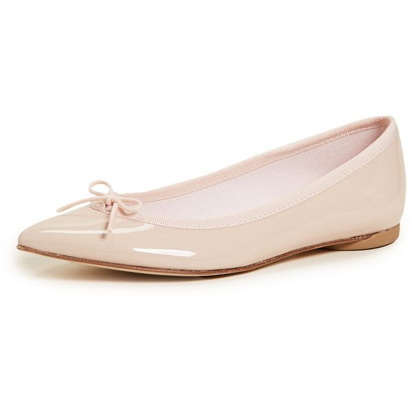 Repetto Brigitte Pointed Toe Ballet Flats (1.185 BRL) ❤ liked on Polyvore featuring shoes, flats, pastel pink, pink ballet shoes, pointy-toe flats, bow ballet flats, pink pointed toe flats and pink shoes